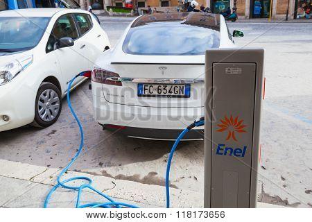 Tesla Model S Car Charging At Ev Recharging Station