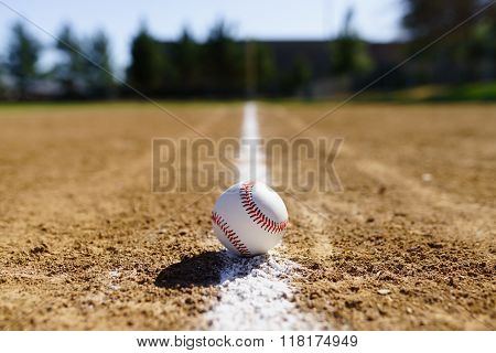 Baseball In A Baseball Field In California Mountains