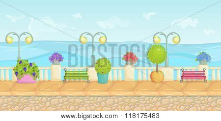 Sunny Cartoon Seafront Landscape, Endless Vector Seaside Background For Computer Games. Stone Fence,