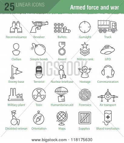 Military linear Icons