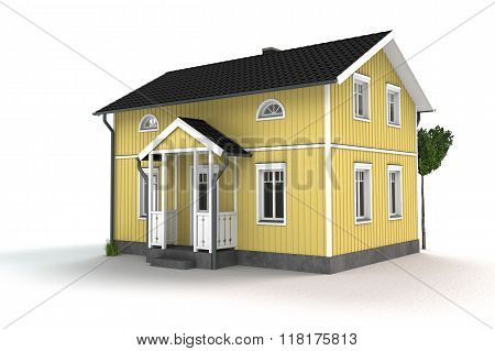 yellow wooden cottage