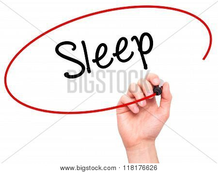 Man Hand Writing Sleep With Black Marker On Visual Screen