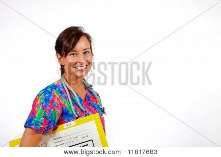 Nurse with x-rays