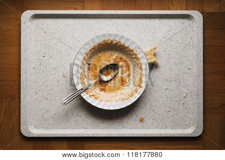 finished meal on a dirty plate