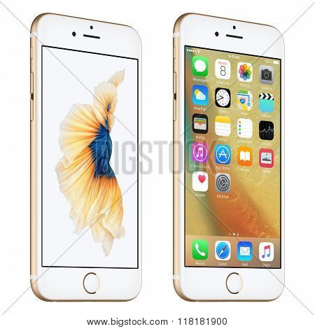 Gold Apple Iphone 6S Slightly Rotated Front View With Ios 9 And Dynamic Wallpaper On The Screen