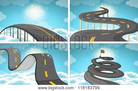 Four scene of roads in the sky illustration