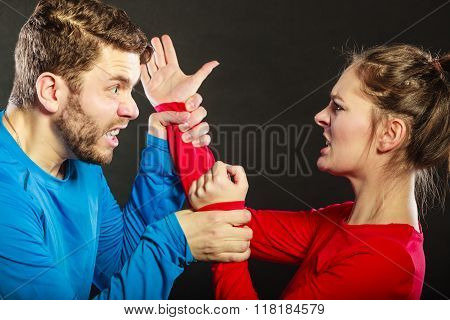 Man Husband Fighting With Woman Wife. Violence.