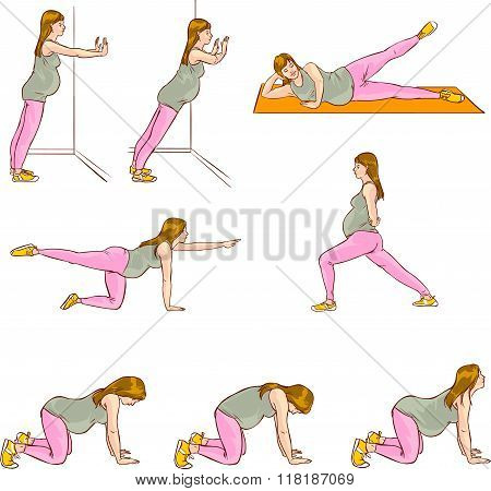 Vector Illustration Of A Pregnant Exercises Sets
