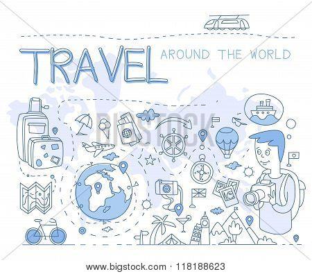 Travel Around the World. Vector Illustration Infographics