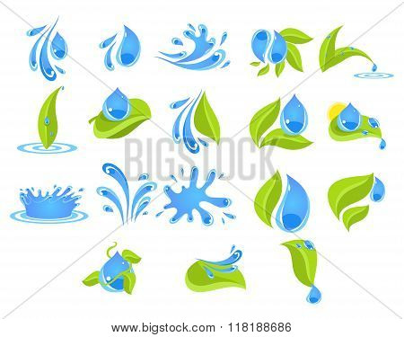Fresh Water Badges and Stickers. Vector Illustration Set