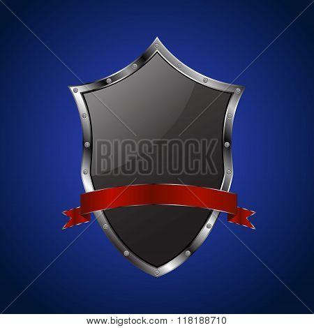 Metallic black shield with red ribbon