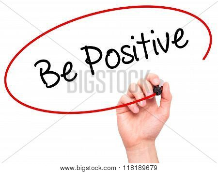 Man Hand Writing Be Positive  With Black Marker On Visual Screen