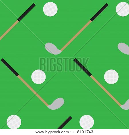Seamless Pattern Golf Stick And Ball