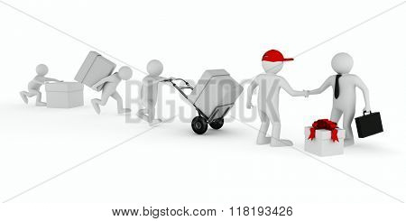 Goods delivery on white background. Isolated 3D image