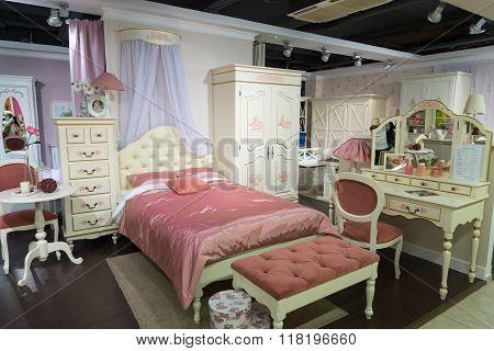 Khimki, Russia - February 13. 2016. Children's Furniture In Grand Furniture Shopping,  Largest S