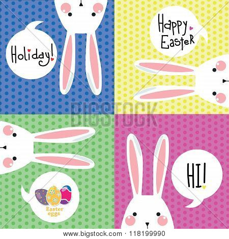 Color postcard with white Easter rabbit.