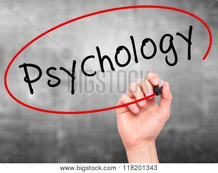 Man Hand Writing Psychology With Black Marker On Visual Screen