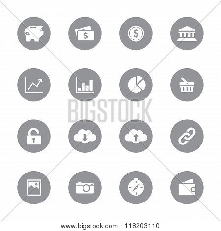 web icon set 4 on gray circle