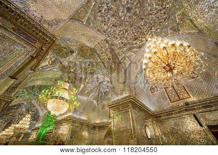 Shiraz, Iran - December 24, 2015: Interior of Shah-e-Cheragh Shrine and mausoleum (Mirror mosque) in Shiraz, Iran