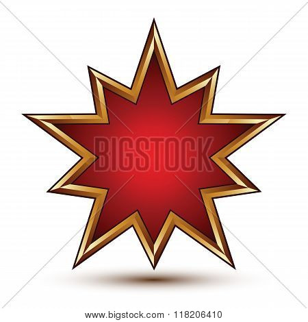 Heraldic 3D Glossy Star Shaped Icon With Golden Outline, Graphic Signet, Clear Eps 8 Vector.