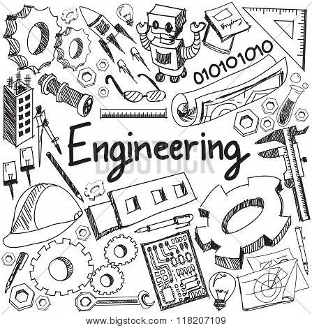 Mechanical, Electrical, Civil, Chemical And Other Engineering Education Profession Handwriting Doodl