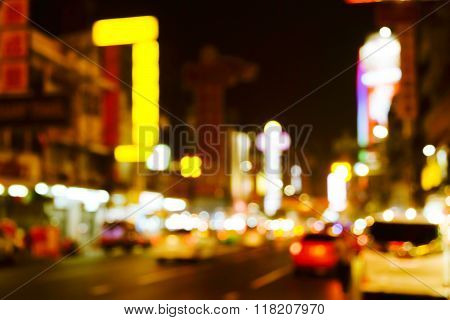 Out of focus lights in Yaowarat Road at night