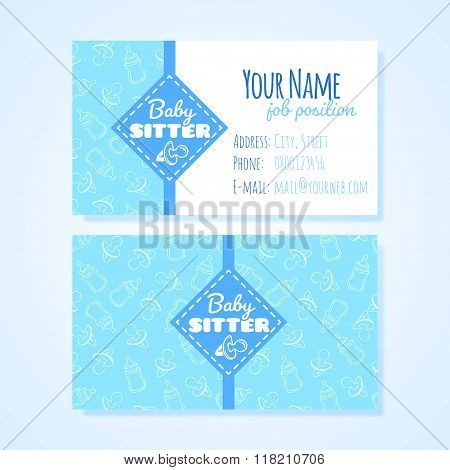 Two Horizontal Business Card Template For Babysitter Service.