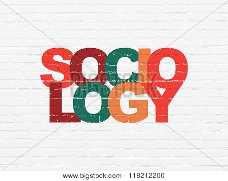 Studying concept: Sociology on wall background