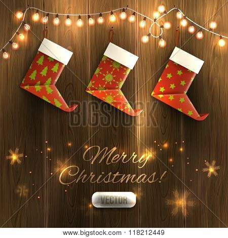 Origami Xmas Boots And Garland On Wooden Texture, Christmas Illustration. Vector, Eps10, Editable.
