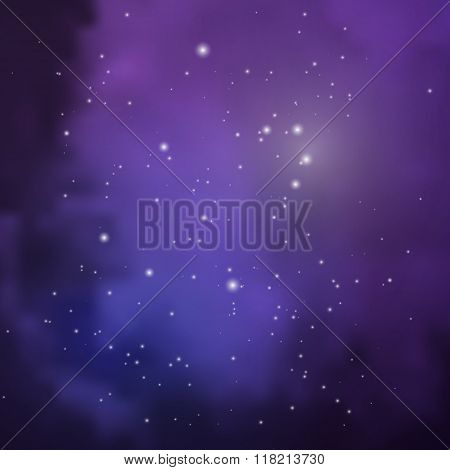 Space View With Stars And Colored Clouds Of Gases And Dust