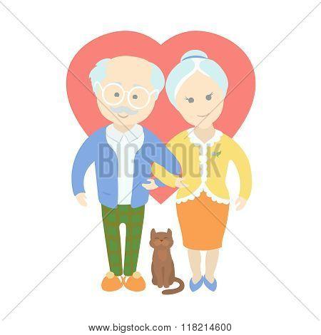 Happy cute old couple - Grandma and Grandpa