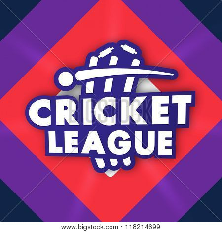 Stylish text Cricket League with illustration of ball and wicket stumps for Sports concept.