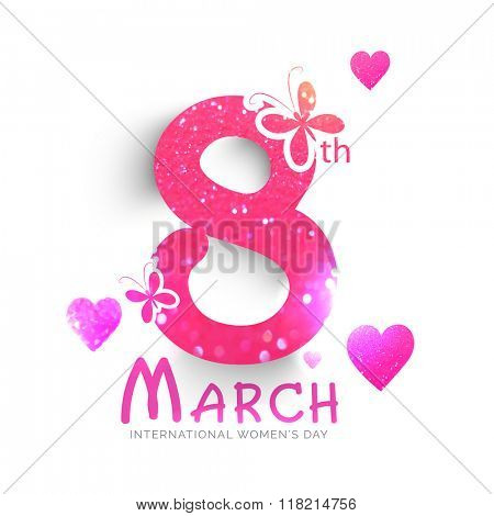 Pink glittering text 8 March with butterflies and hearts for Happy Women's Day celebration.