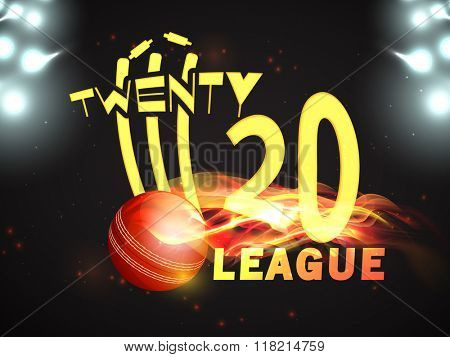 Stylish text Twenty 20 League with illustration of fiery ball hit the wicket stumps on stadium lights background for Cricket Sports concept. poster
