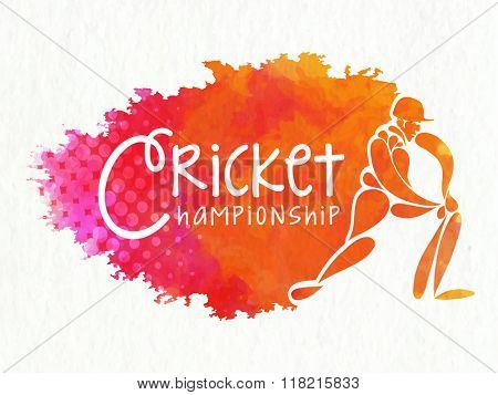 Creative illustration of a batsman in playing action on color splash background for Cricket Championship concept.