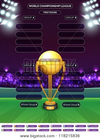 Creative Cricket Match Schedule with golden trophy and participant countries names on night stadium lights background. poster