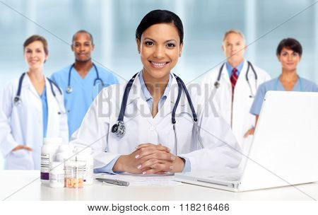 Asian Doctor woman with pills.