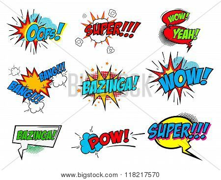 Set Of Comic Text, Pop Art Style Phrases