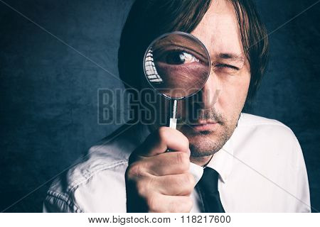 Businessman With Magnifying Glass, Tax Inspector Doing Financial Auditing