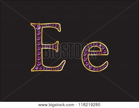 Ee Amethyst Jeweled Font With Gold Channels