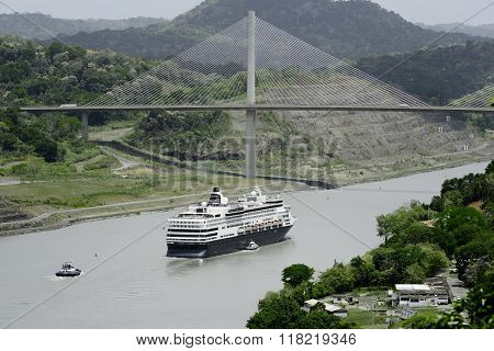 Large cruise ship passing under Panama's Centennial Bridge, Panama Canal