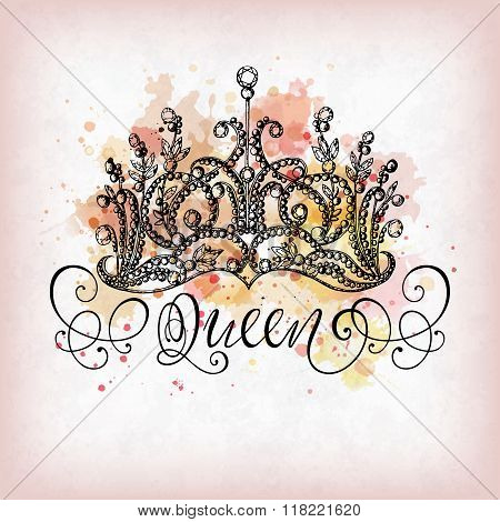 Queen Crown With Lettering