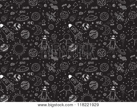 Seamless pattern. Cosmic objects set. Hand drawn vector doodles. Rockets, planets, constellations, u