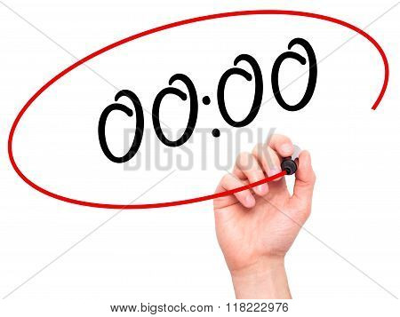 Man Hand Writing 00:00  With Black Marker On Visual Screen