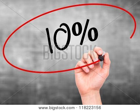 Man Hand Writing 10%  With Black Marker On Visual Screen