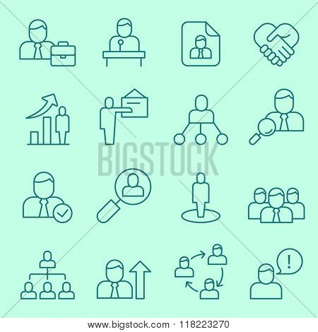 Human resource management, team building and business training icons, thin line, flat design