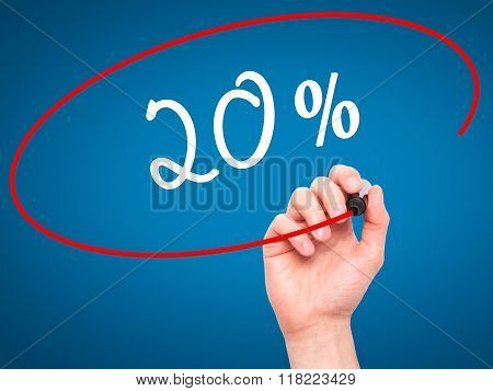Man Hand Writing 20% With Black Marker On Visual Screen