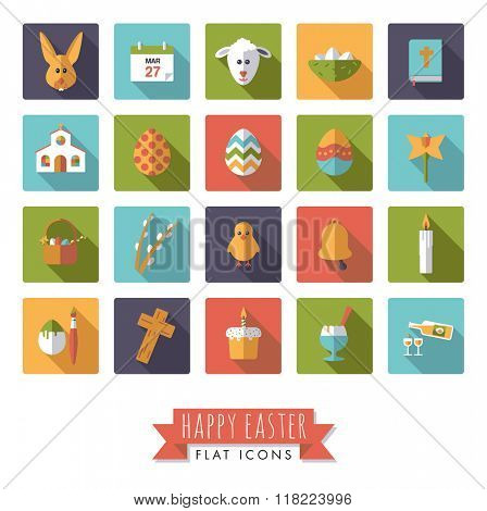 Easter Flat Design Square Vector Icon Set. Collection of 20 Happy Easter Flat Design Icons in rounded squares