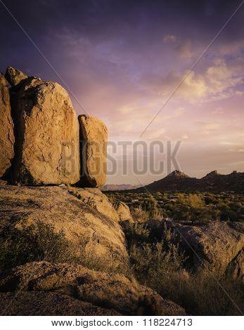 Beautiful red rock boulders overlooking north Scottsdale area in Arizona,USA