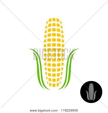 Corn Logo. Simple Corn With Grains And Leaves Stylized. Black Version Included.